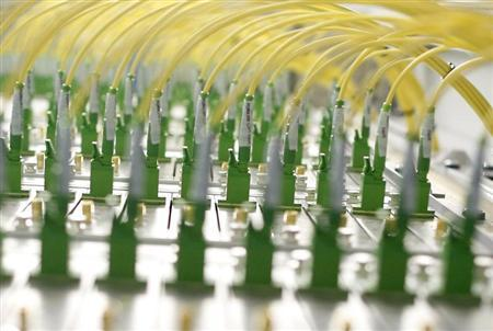 Fibre optic cables of Germany's biggest cable operator, Kabel Deutschland, are pictured at the Kabel Deutschland playout center in Frankfurt February 25, 2013. REUTERS/Lisi Niesner