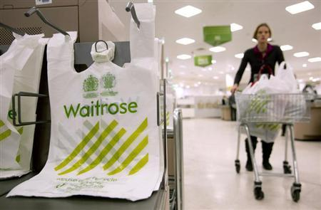 A shopper passes by branded bags in the Canary Wharf store of Waitrose in London. REUTERS/Neil Hall