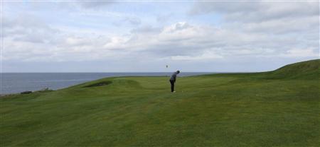 A golfer plays a shot on the Golfklubberinn Oddur golf course in Rekyavik June 5, 2013. REUTERS/Paul Ingrassia
