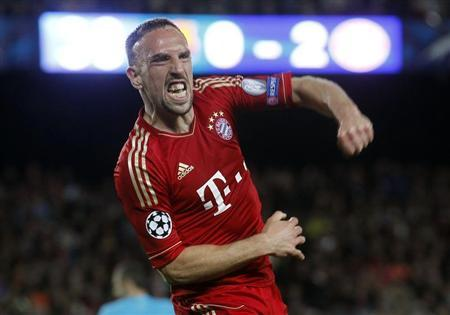 Bayern Munich's Franck Ribery celebrates after a goal was scored against Barcelona during their Champions League semi-final second leg soccer match at Camp Nou stadium in Barcelona May 1, 2013. REUTERS/Albert Gea