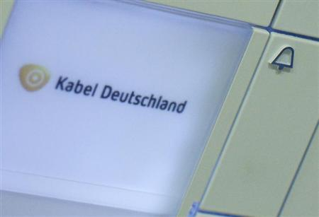 The logo of Germany's biggest cable operator, Kabel Deutschland, is written on a door bell at the Kabel Deutschland playout center in Frankfurt February 25, 2013. REUTERS/Lisi Niesner