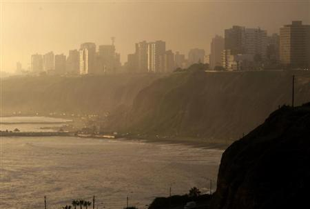 A view shows Lima's district of Barranco during sunset, April 18, 2012. REUTERS/Mariana Bazo