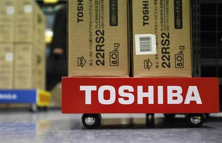 Boxes of Toshiba Corp's Regza liquid-crystal display (LCD) televisions are seen at an electronic store in Tokyo January 31, 2013. REUTERS/Shohei Miyano