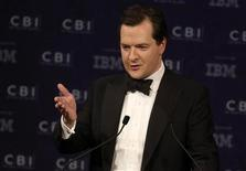 Britain's Chancellor of the Exchequer George Osborne speaks at the Confederation of British Industry (CBI) annual dinner in London May 15, 2013. REUTERS/Luke MacGregor
