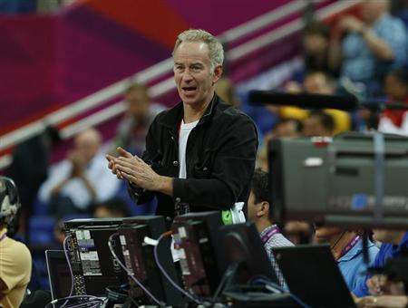Former pro tennis player John McEnroe attends the men's quarterfinal basketball match betwen the U.S. and Australia at the North Greenwich Arena in London during the London 2012 Olympic Games August 8, 2012. REUTERS/Sergio Perez/Files
