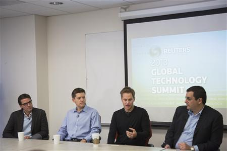 (L-R) Thomas Laffont, senior managing director of Coatue Management, Roelof Botha, venture capitalist of Sequoia Capital, Kevin Hartz, co-founder and chief executive of Eventbrite, and Dave Goldberg, chief executive of SurveyMonkey, speak on a panel during Reuters Global Technology Summit in San Francisco, June 18, 2013. REUTERS/Stephen Lam