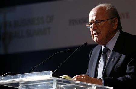 FIFA President Sepp Blatter gives a speech during the Financial Times and International Football Arena Business of Football summit in Rio de Janeiro June 17, 2013. REUTERS/Sergio Moraes