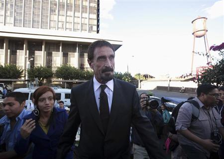 John Mcafee, anti-virus software guru, arrives for a news conference outside of the Supreme Court of Justice in Guatemala City, December 4, 2012. REUTERS/William Gularte
