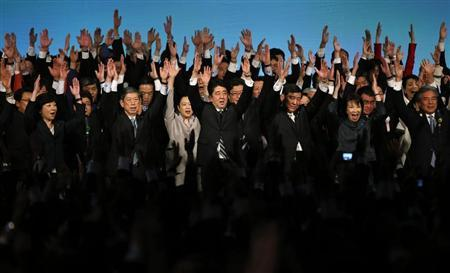 Japan's Prime Minister Shinzo Abe (front C) shouts 'banzai' (cheers) as he raises his hands with members of the ruling Liberal Democratic Party (LDP) during the annual party convention in Tokyo March 17, 2013. REUTERS/Toru Hanai