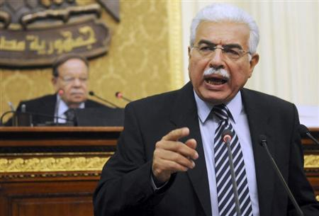 Then Egyptian Prime Minister Ahmed Nazif speaks during a parliament session in Cairo May 11, 2010. REUTERS/Mohamed Abd El-Ghany