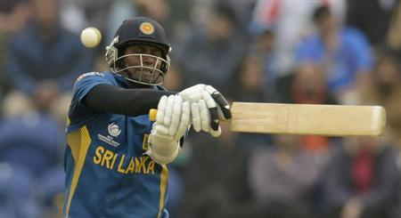 Sri Lanka's Angelo Matthews misses the ball during the ICC Champions Trophy semi final match against India at Cardiff Wales Stadium, Wales June 20, 2013. REUTERS/Philip Brown