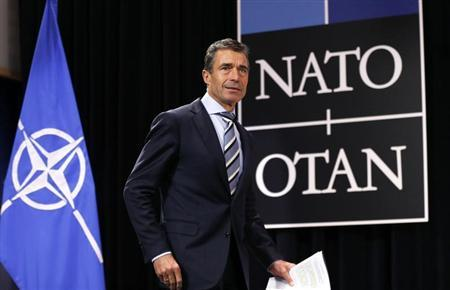 NATO Secretary General Anders Fogh Rasmussen arrives to address a news conference during a NATO defence ministers meeting at the Alliance headquarters in Brussels June 5, 2013. REUTERS/Francois Lenoir