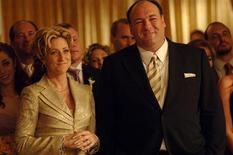 "Actor James Gandolfini (R) portrays the character Tony Soprano in a scene from the HBO drama cable television series ""The Sopranos"", along with his co-star Edie Falco, who played his wife Carmela, in this undated publicity photograph released to Reuters June 19, 2013. Gandolfini, best known for his Emmy-winning portrayal of a conflicted New Jersey mob boss in the acclaimed HBO cable television series ""The Sopranos,"" has died while vacationing in Rome, the network said on June 19, 2013. REUTERS/HBO/Handout"
