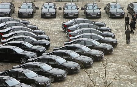 New Audi A8's are parked in front of the Audi headquarter before the company's annual news conference in Ingolstadt March 12, 2013. REUTERS/Michaela Rehle