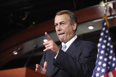 U.S. House Speaker John Boehner (R-OH) calls on a reporter during a news conference at the U.S. Capitol in Washington, June 20, 2013. REUTERS/Jonathan Ernst