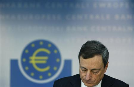 European Central Bank (ECB) President Mario Draghi looks down during the monthly ECB news conference in Frankfurt June 6, 2013. REUTERS/Ralph Orlowski