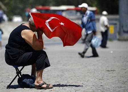 A woman holds a Turkish flag as she attends a protest at Taksim Square in Istanbul June 20, 2013. REUTERS/Marko Djurica