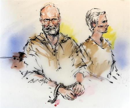 Accused Boston crime boss James ''Whitey'' Bulger (L) and his girlfriend Catherine are shown during their arraignment in federal court in Los Angeles, California in this June 23, 2011 courtroom sketch. On the run for 17 years, the accused Boston crime boss James ''Whitey'' Bulger and his longtime girlfriend were finally caught in California by the Federal Bureau of Investigation on Wednesday. REUTERS/Bill Robles/Artist