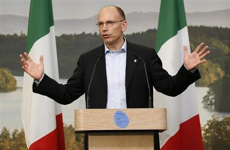 Italy's Prime Minister Enrico Letta addresses a news conference at the end of the G8 summit at the Lough Erne golf resort in Enniskillen, Northern Ireland June 18, 2013. REUTERS/Kerim Okten/Pool