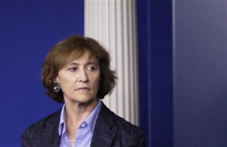 Caroline Atkinson during a briefing at the White House, June 14, 2013. REUTERS/Yuri Gripas