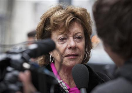 Neelie Kroes, european commissioner for digital technology, arrives at a meeting for European Liberal politicians in Amsterdam February 25, 2013. REUTERS/Bart Maat