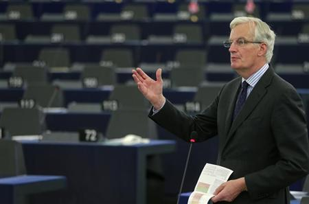 European Commissioner for Internal Market and Services Michel Barnier addresses the European Parliament during a debate on financial services in Strasbourg, June 12, 2013. REUTERS/Vincent Kessler