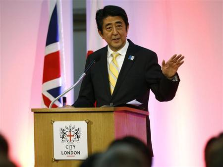 Japan's Prime Minister Shinzo Abe speaks at the Guildhall in London June 19, 2013. REUTERS/Kirsty Wigglesworth/POOL