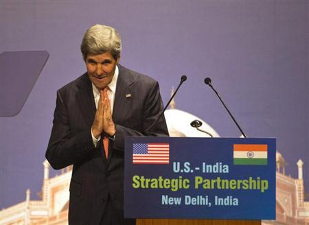 U.S. Secretary of State John Kerry gestures after his speech on the U.S.-India strategic partnership in New Delhi June 23, 2013. REUTERS/Ahmad Masood