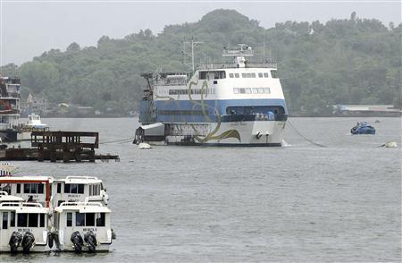 Casino Royale Goa, an off-shore casino on a ship, is pictured anchored on the Mandovi river which runs through Goa's capital Panaji, June 22, 2013. REUTERS/Stringer