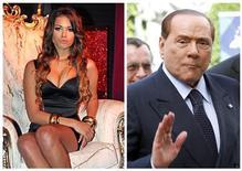 Karima El Mahroug detta Ruby (nella foto a sinistra) e l'ex premier Silvio Berlusconi. REUTERS/Stringer/Sebastien Pirlet/Files