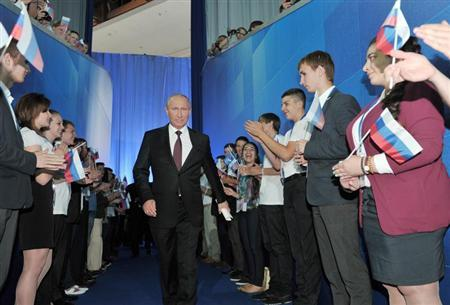 Russian President Vladimir Putin arrives to make an address to supporters of the Popular Front during the party's congress in Moscow June 12, 2013. REUTERS/Alexei Nikolskyi/RIA Novosti/Kremlin
