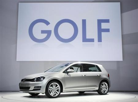 The Volkswagen Golf is seen onstage at a news conference at the New York Auto Show in New York, March 27, 2013. REUTERS/Carlo Allegri