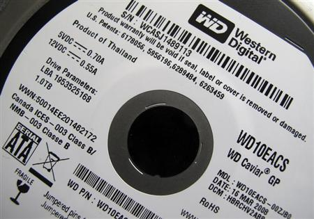 A Western Digital Corporation hard drive is pictured here in Encinitas, California April 19, 2011. REUTERS/Mike Blake