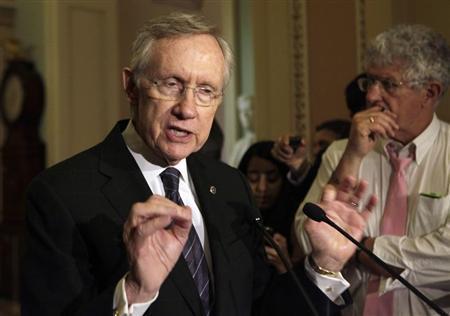 U.S. Senate Majority Leader Harry Reid (D-NV) speaks to the media about an immigration reform on Capitol Hill in Washington June 18, 2013. REUTERS/Yuri Gripas