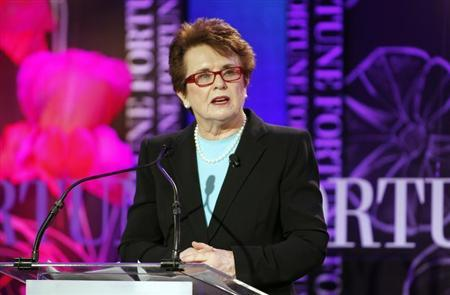 Billie Jean King, co-founder of World Team Tennis and president of Billie Jean King Enterprises, Inc. gives the introduction on sports and leadership, forty years after Title IX to Fortune's Most Powerful Women Summit in Laguna Niguel, California October 2, 2012. REUTERS/Alex Gallardo