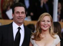 "Actor Jon Hamm of the TV drama ""Mad Men"" and his girlfriend Jennifer Westfeldt arrive at the 19th annual Screen Actors Guild Awards in Los Angeles, California January 27, 2013. REUTERS/Adrees Latif"