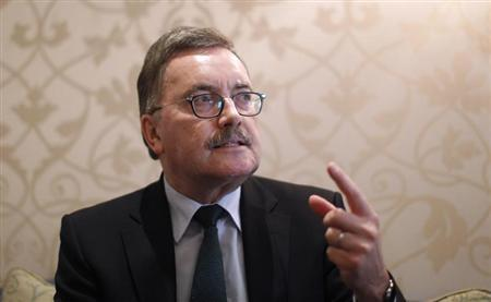Former chief economist of European Central Bank (ECB) Juergen Stark gestures as he speaks during an interview with Reuters in Frankfurt October 22, 2012. Picture taken October 22, 2012. REUTERS/Lisi Niesner