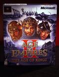 """Реклама игры """"Age of Empires II: The Age of Kings"""" в Редмонде, США. Microsoft Corp адаптирует свою популярную игру """"Age of Empires"""" для смартфонов, включая iPhone от Apple Inc, благодаря сотрудничеству с японской KLab Inc. REUTERS/Jeff Christensen"""