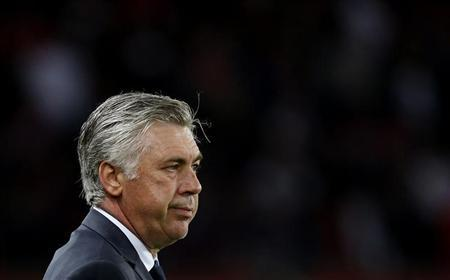 Paris Saint-Germain's coach Carlo Ancelotti reacts during his team's French Ligue 1 soccer match against Brest at the Parc des Princes stadium in Paris May 18, 2013.REUTERS/Gonzalo Fuentes