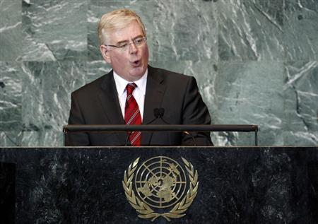 Irish Foreign Minister Eamon Gilmore addresses the 66th United Nations General Assembly at U.N. headquarters in New York, September 26, 2011. REUTERS/Mike Segar