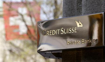 The logo of Swiss bank Credit Suisse (CS) in seen in front of an office building at the Bahnhofstrasse in Zurich April 18, 2013. REUTERS/Arnd Wiegmann