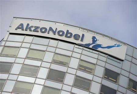 AkzoNobel's logo is seen, ahead of a presentation of the paint maker's 2011 fourth quarter and annual results, in Amsterdam February 16, 2012. REUTERS/Robin van Lonkhuijsen/United Photos