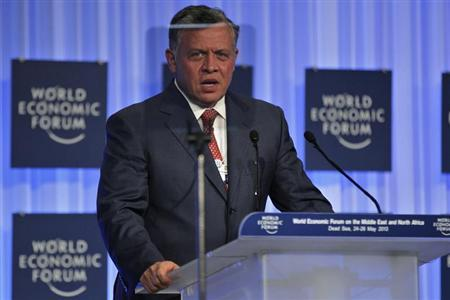Jordan's King Abdullah speaks during the closing ceremony of the World Economic Forum on the Middle East and North Africa at the King Hussein Convention Centre, at the Dead Sea May 26, 2013. REUTERS/Muhammad Hamed