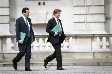 Britain's Chancellor of the Exchequer George Osborne and Chief Secretary to the Treasury Danny Alexander leave the Treasury for the House of Commons where the Chancellor will deliver this year's spending review in London June 26, 2013. REUTERS/Stefan Rousseau/POOL