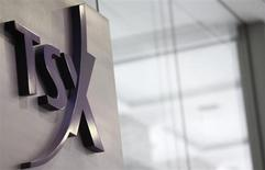 A Toronto Stock Exchange (TSX) logo is seen in Toronto in this November 9, 2007 file photo. REUTERS/Mark Blinch
