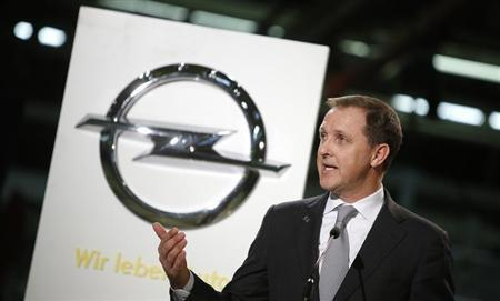Deputy Chairman of the Management Board of Adam Opel AG Thomas Sedran speaks during the start of the Opel Adam car production in Eisenach January 10, 2013. REUTERS/Lisi Niesner