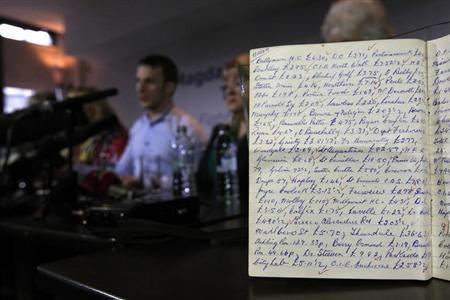 A ledger from the Hyde Park Magdalene Laundry showing payments for services, is seen on display during a ''Magdalene Survivors Together'' news conference in Dublin February 5, 2013. REUTERS/Cathal McNaughton