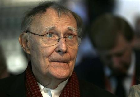 Swede Ingvar Kamprad, founder of furniture retail chain IKEA, listens an address at the Russian - Swiss Innovation day at the Swiss Federal Institute of Technology (EPFL) in Ecublens, near Lausanne May 17, 2013. REUTERS/Denis Balibouse