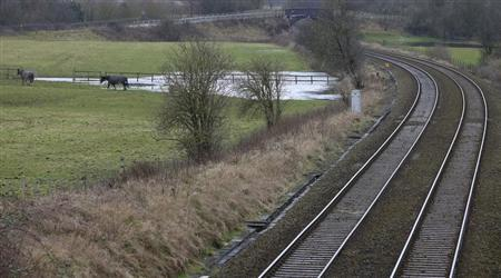 Existing rail tracks carve through fields near to the planned location of the new HS2 high speed rail link as it passes by the village of Ashley, northern England January 28, 2013. REUTERS/Phil Noble