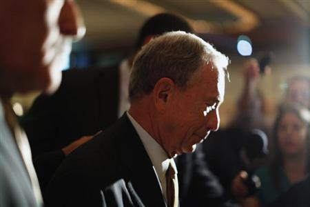 New York City Mayor Michael Bloomberg exits after a speech to the Real Estate Board of New York in New York, May 30, 2013. REUTERS/Brendan McDermid